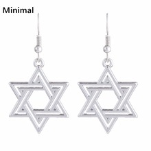 Minimal New in  Star Of David Earrings Sliver Color Amulet Earrings Fashion Acessory for Woman Wedding Jewelry