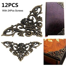 12pc Bronze Furniture Corner Brackets Jewelry Chest Wine Case Box Book Scrapbook Album Corner Protector Decor Furniture Hardware(China)