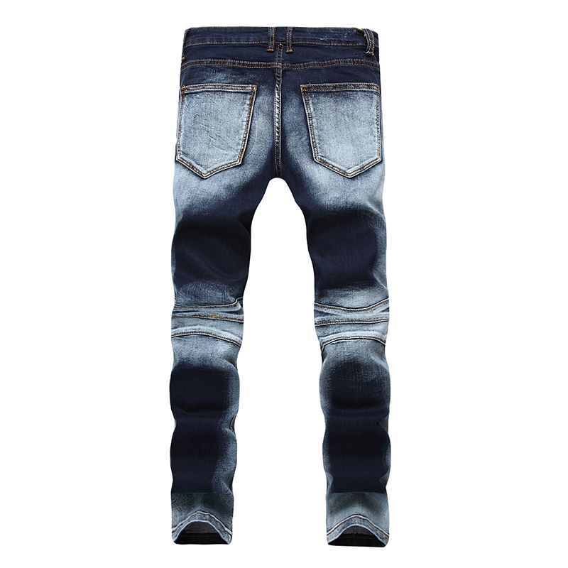 Men's Fashion Brand Designer Ripped Biker Jeans Men Distressed Moto Denim Joggers Washed Pleated Jean Pants Black Blue 4