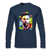 Brand 2017 Lionel Messi Shirts Barcelona Men's Long sleeve Messi funny t shirt 100% cotton tshirt Tops Argentina fans tee shirt(China)