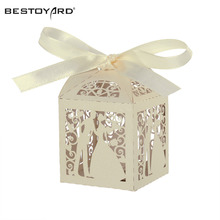 50pcs Couple Design Luxury Lase Cut Wedding Sweets Candy Gift Favour Boxes with Ribbon Table Decorations (Creamy-white)(China)