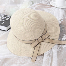 Hot Sell !2017 Summer/outdoor /all-match/on vacation Cream coloured Bowknot/Ribbon sun hats for women with beach/lady straw hat(China)