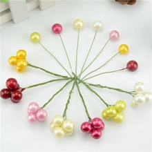 40pcs Mini Simulation Plastic Fruit Small Berries Artificial Flower Red Cherry Fake  Pearl Wedding Christmas Tree Decorative