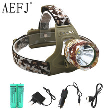 3500 Lumen XM-L T6 LED Camouflage Headlamp Headlight Head Torch camping Lamp Light +2x Battery+Car EU/US/AU/UK Plug Charger(China)