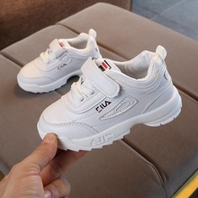봄 새 어린이 White Shoes 패션 Kids Soft Bottom PU Leather Sport Running Sneakers Baby 가 숨 유아 Shoes(China)