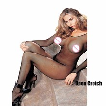 Buy Women Stockings Fishnet Bodystocking Open Crotch Sexy Tights Transparent Mesh Lingerie Sexy Crotchless Lenceria Erotic QQ033