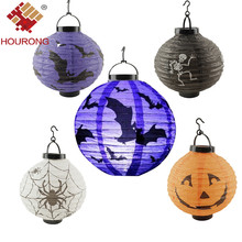 Hourong 1 Pc LED Paper Pumpkin Light Hanging Lantern Spider Ghost Bat Halloween Lamp Props Party Lamp Halloween Decoration(China)