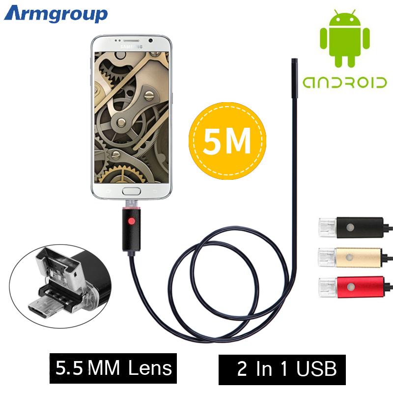 2017 New Endoscope 5.5mm Pinhole Snake Tube Borescope Camera Inspection USB Android Endoskop 2IN1 OTG Endoscope Android Phone PC<br><br>Aliexpress
