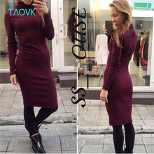TAOVK Russian style design new  Women Cotton dresses Wine red & Black long sleeve high neck slim dress