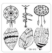 1PC !CB12 66*66MM 2017 Feather Dream Catcher Nail Art Hot Konad New Stamping Image Metal Plates Kit Set Mixed Designs Stamping