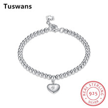 Buy Delicate Heart Bead Pure 925 Sterling Silver Charm Bracelets & Bangles Women Fine Sterling-Silver-Jewelry Gift, TSH0001 for $16.79 in AliExpress store