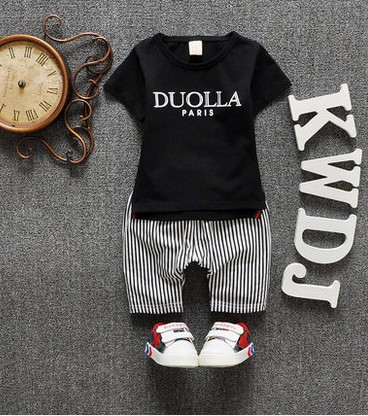 The new 2016 summer baby boy female childrens wear short-sleeved suit children 0-1-2-3 - year - old baby<br>