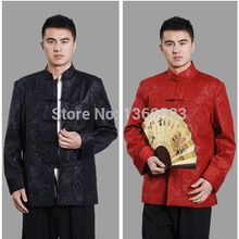 Special offer Traditional Chinese tang suit kungfu jacket Black Red men's long sleeve Chinese wind tangzhuang Outerwear