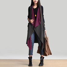 2016 Spring Autumn All-match Women Reversible wear vest coat Casual Vest Long Overcoat Plus size Open stitch Outerwear QS358
