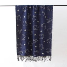Women Hello Kitty Scarf Double Side Character Print Long Scarf Wrap Shawl 200*70cm 2 Color(China)
