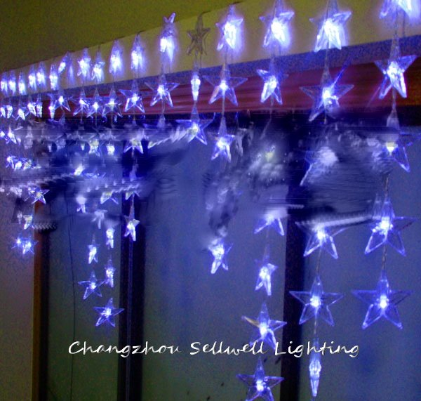 GOOD!LED christmas light showcase decoration 90pcs blue five pointed star bead curtain lamp H171<br>