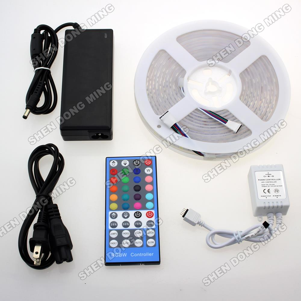 100 sets Changeable color 5M 300Leds 5050 SMD led ribbon Waterproof IP67 RGBW LED Strip Light+Power Supply+40Keys Controller<br><br>Aliexpress