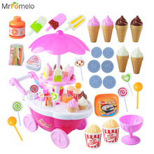 Educational Interactive Toys Kids Pretend Play Mini Candy Ice Cream Supermarket Small Car Trolley with Light Music for Children