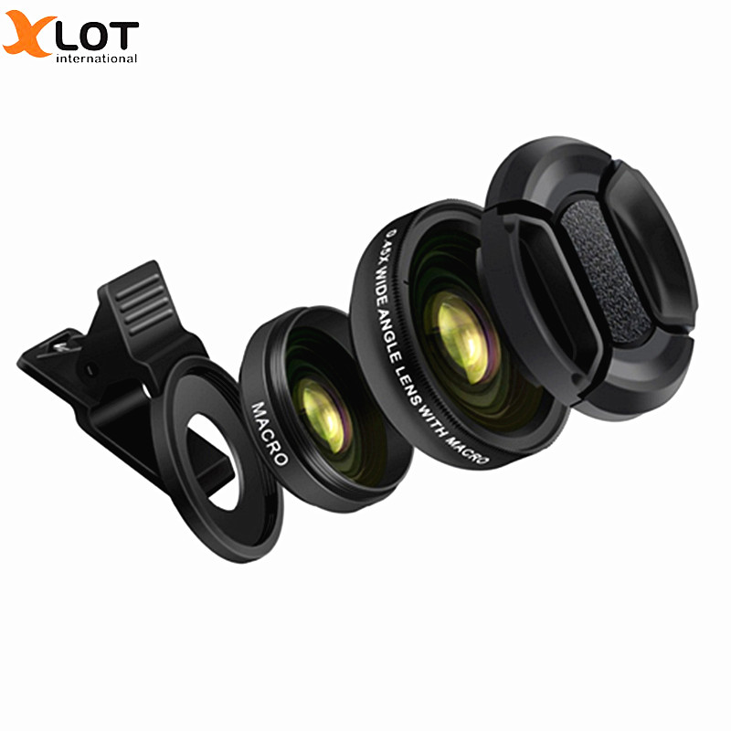 XLOT 2 1 Mobile Phone Lens 0.45X HD Wide Angle Lens+12.5X Macro Lens Samsung Sony Smartphones 37mm Thread Clip Phone Lens
