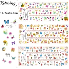 Rolabling AB1010-HOT(034-036) Various of Cartoon Animals Art Sticker Colorful Fashion Style Nail Art Water Transfer Stickers(China)