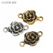30pcs Antique Silver/Bronze Flower Shaped Connectors Charms For DIY Jewelry Making Bracelets
