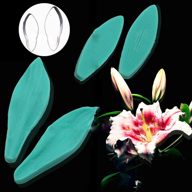 Iris Flower Petal Leaf Silicone Fondant Mold Cake Decor Sugarcraft Baking Mould