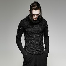 Gothic Hole T Shirt Costumes Double Layers Irregular Hooded Black T-shirt Punk Ripped Men Casual Tee Tops