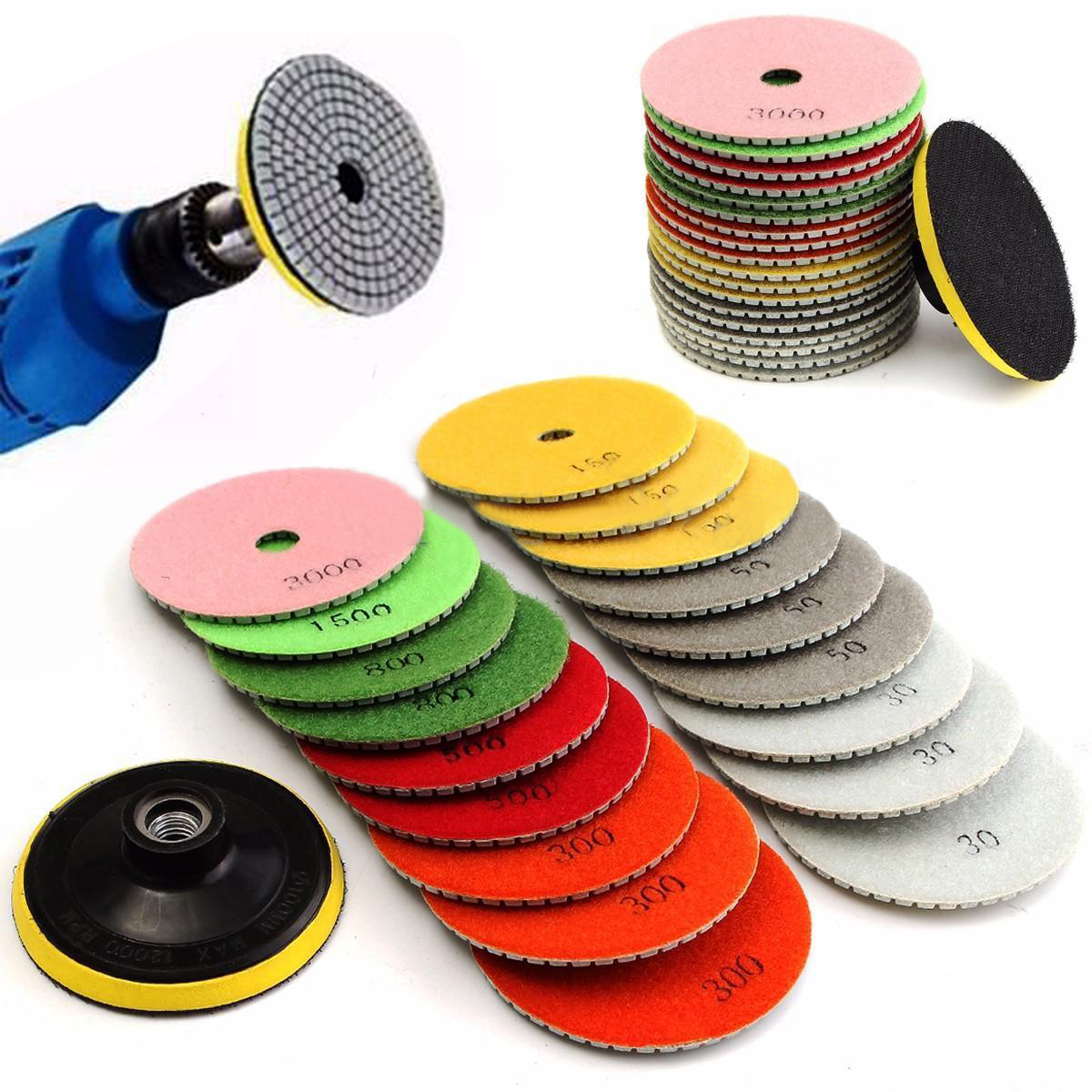 19pcs 4 inch Diamond Polishing Pad Wet/Dry Granite Marble Concrete Stone Grinding Discs Set<br>