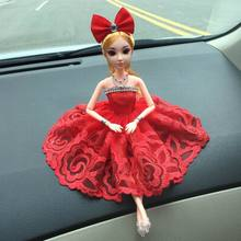 New 2017 Car Ornaments Doll with Wedding Dress for Girls Cute Bobby Doll Christmas Gift Ornaments for Car Accessories(China)