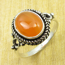 Carnelian UNUSUAL Ring Size US 6.75 !  Silver Plated Fashion Jewelry NEW