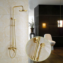 Luxury Gold Finish Wall Mounted Bathroom Shower Mixer Taps W/ Brass Hand Shower(China)