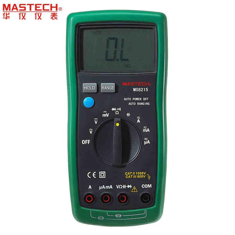 MASTECH MS8215 Auto Range Overload protected Digital Multimeter DMM AC/DC Voltmeter Ammeter Ohm meter Capacitor Tester<br>