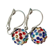 Small earing boucle d'oreille aros Women Shamballa Earrings Rhinestone Micro-Crystal Princess Earrings For Women E1702-E1711