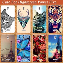 Popular Case For Highscreen Power Five power5 Cover Blue Butterfly 3d DIY Painting Flowers For highscreen POWER FIVE Case Cover