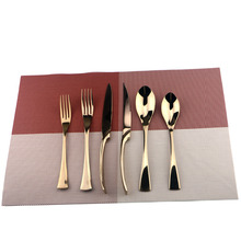 6Pcs/Lot Rose Gold Cutlery Set 18/10 Stainless Steel Dinnerware Set Knife Scoops Silverware Set Fork Tableware Set Dessert Fork