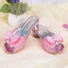 Bow bout princess sandals 2017 summer new girls sandals children's high heels fashion fish mouth sequins princess shoes(China)