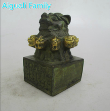 AAA+Rare Chinese Old Bronze Carved 9 Lion head Seal Sculpture/Art Statue For Home Decoration Antique Collection(China)