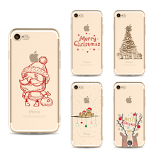 Christmas Santa Claus phone Cases For Iphone 6 6s 6Plus 7 7s 7plus Soft Clear TPU Silicon Ultra-Thin Snow Phone Cover Case bag
