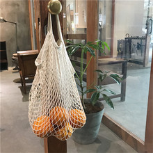 100pcs/lot Long handle Fruits & Vegetable Shopping String Cotton Net Mesh Bag For Sun Clothes Toys Basketball Storage Bags(China)