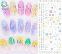 Rocooart DS001 Water Transfer Nail Sticker Art Paiting Harajuku Retangle Element Nail Wraps Sticker 2D Manicure Decor Decals