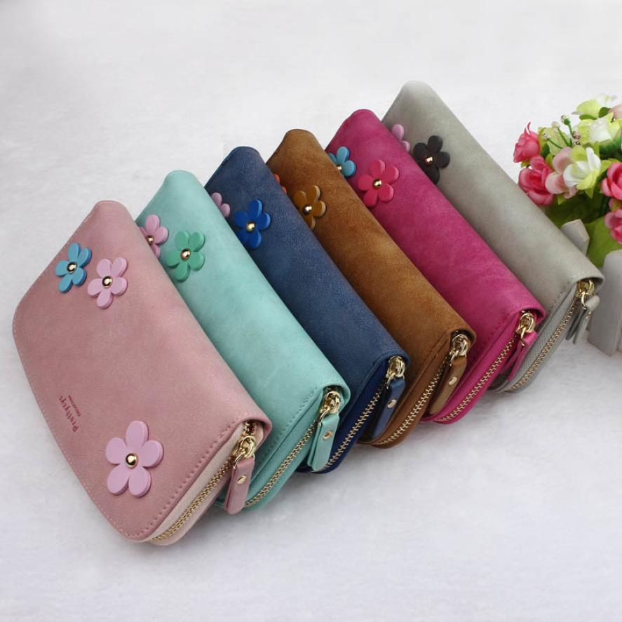 2016 Fashion Women Wallets Flower Small Fresh Lady Long Wallet Famous Designer Money Wallet Womens purses carteras mujer Hot<br><br>Aliexpress