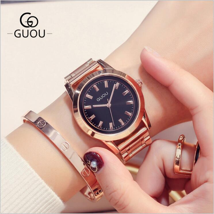 GUOU Watches New Arrivals Exquisite Women Watches Rose Gold Full Steel Watch  Quartz Wrist Watch Ladies clock relogio feminino<br>