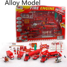 Early childhood gliding simulation alloy car, fire truck combinations scene model,Free shipping,Play house toys