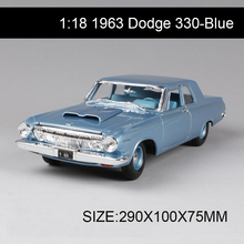 1:18 diecast Car 1963 Dodge 330 Coupe Classic Cars 1:18 Alloy Car Metal Vehicle Collectible Models toys For Gift Collection(China)