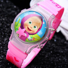 Factory Price 10PCS/LOT Small Order Cartoon Girls Popular Color Lighted Martha Children Watches Water ball Flashing Wristwatches