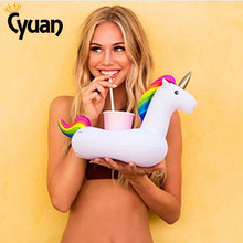 Cyuan 1pc Small Cute Unicorn Pool Float Inflatable Unicorn Summer Unicornio Theme Party Fun Water Toys For Kids(China)