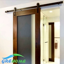4.9FT/6FT/6.6FT Carbon steel Black Rustic barn door sliding track system(China)