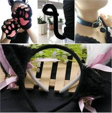 Cute Anime Cosplay Costume Cat Ears Plush Paw Claw Tail Necklace headdress 1 Set Women Hot 4pcs/1set(China)