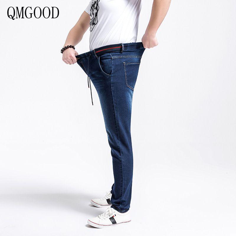 QMGOOD Mens Plus Size Big Size Elastic Waist Jeans 2017 New Summer Blue Casual Cotton Comfortable Male Trousers Denim XL-6XLÎäåæäà è àêñåññóàðû<br><br>