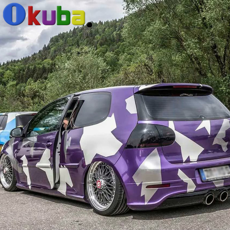 Purple Artic Camo Vinyl Car Sticker Full Car Body Wrap Camouflage Film Decal Foil With Air Bubble Free 1.52*30m/roll(China (Mainland))